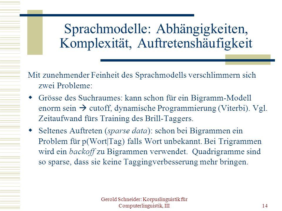 Sprachmodelle: Abhängigkeiten, Komplexität, Auftretenshäufigkeit