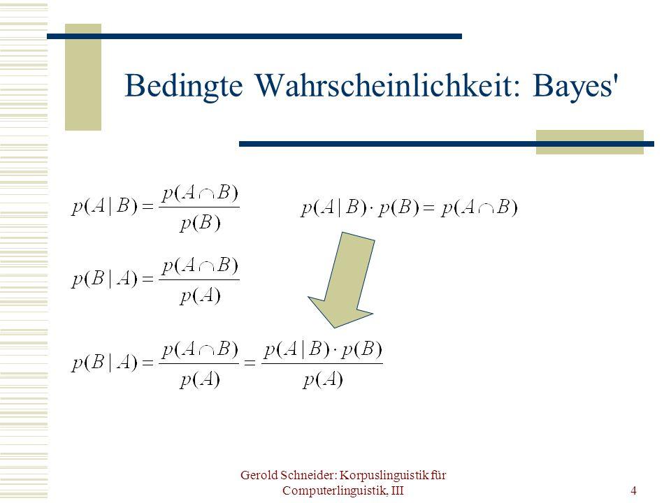 Bedingte Wahrscheinlichkeit: Bayes
