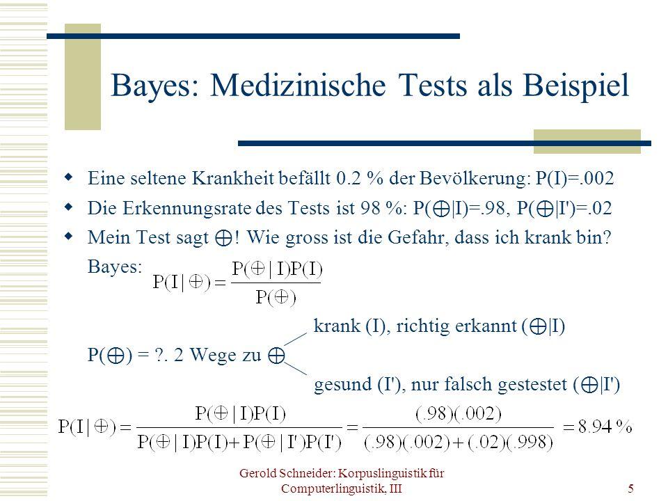 Bayes: Medizinische Tests als Beispiel