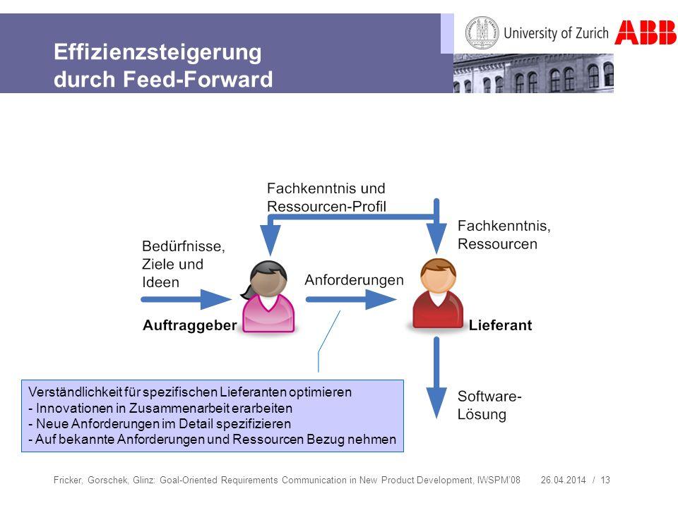 Effizienzsteigerung durch Feed-Forward
