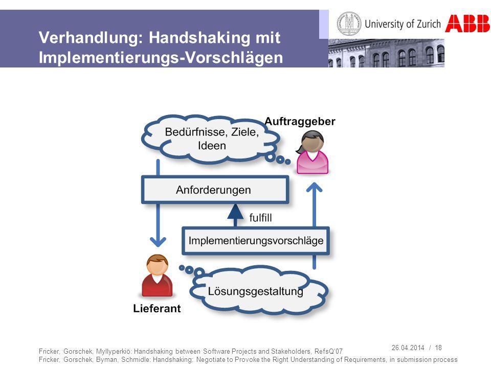 Verhandlung: Handshaking mit Implementierungs-Vorschlägen