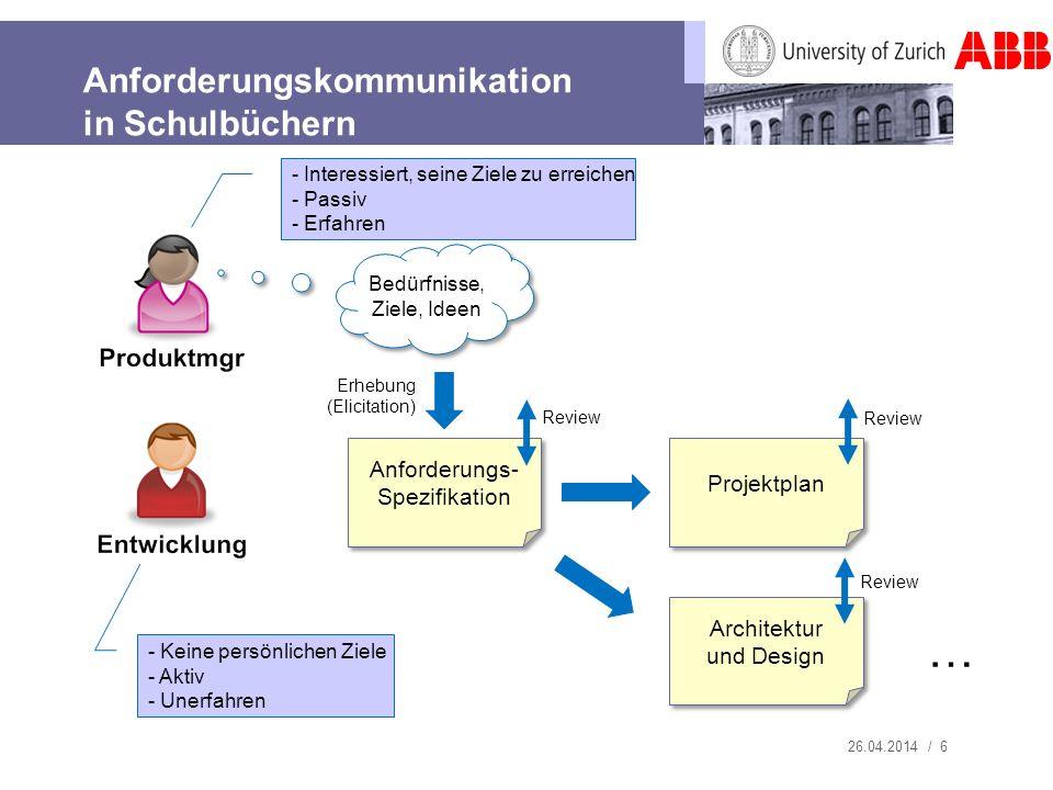 Anforderungskommunikation in Schulbüchern