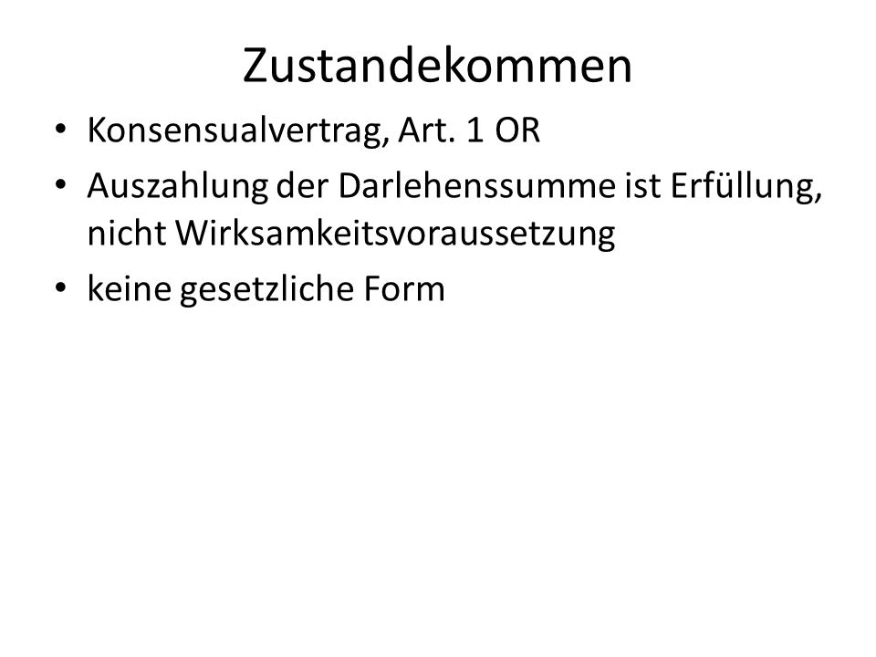 Zustandekommen Konsensualvertrag, Art. 1 OR
