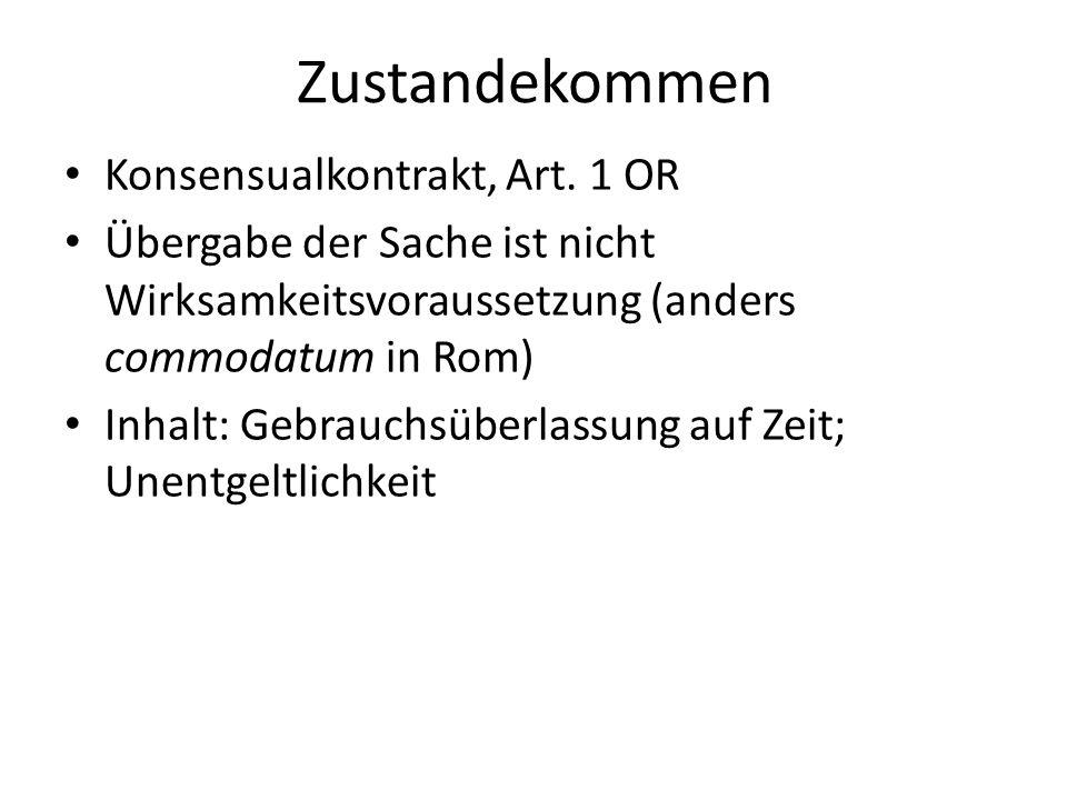 Zustandekommen Konsensualkontrakt, Art. 1 OR