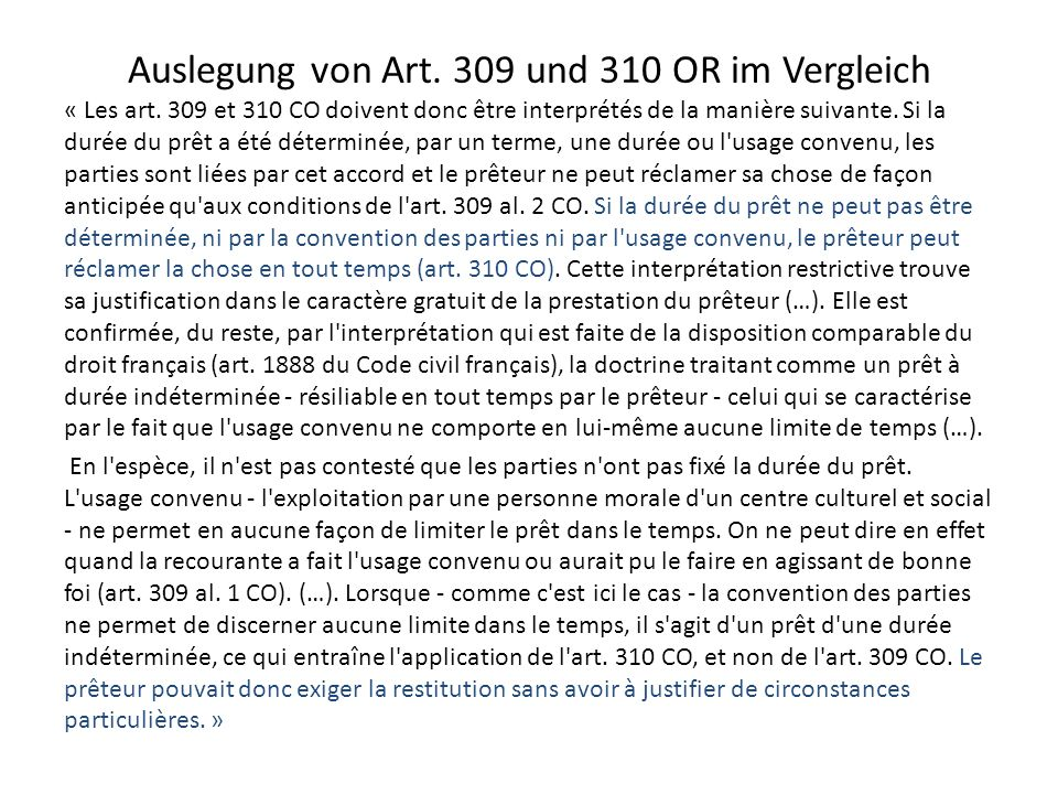 Auslegung von Art. 309 und 310 OR im Vergleich