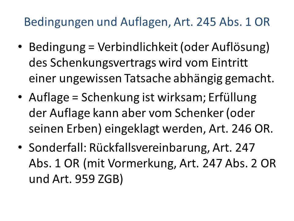 Bedingungen und Auflagen, Art. 245 Abs. 1 OR