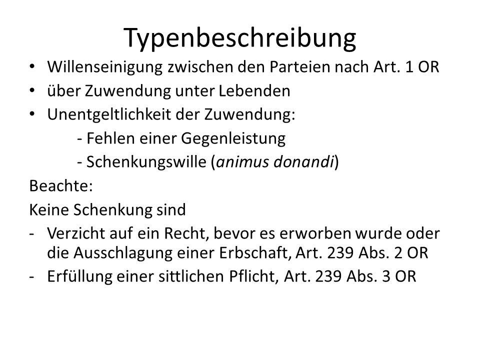Typenbeschreibung Willenseinigung zwischen den Parteien nach Art. 1 OR