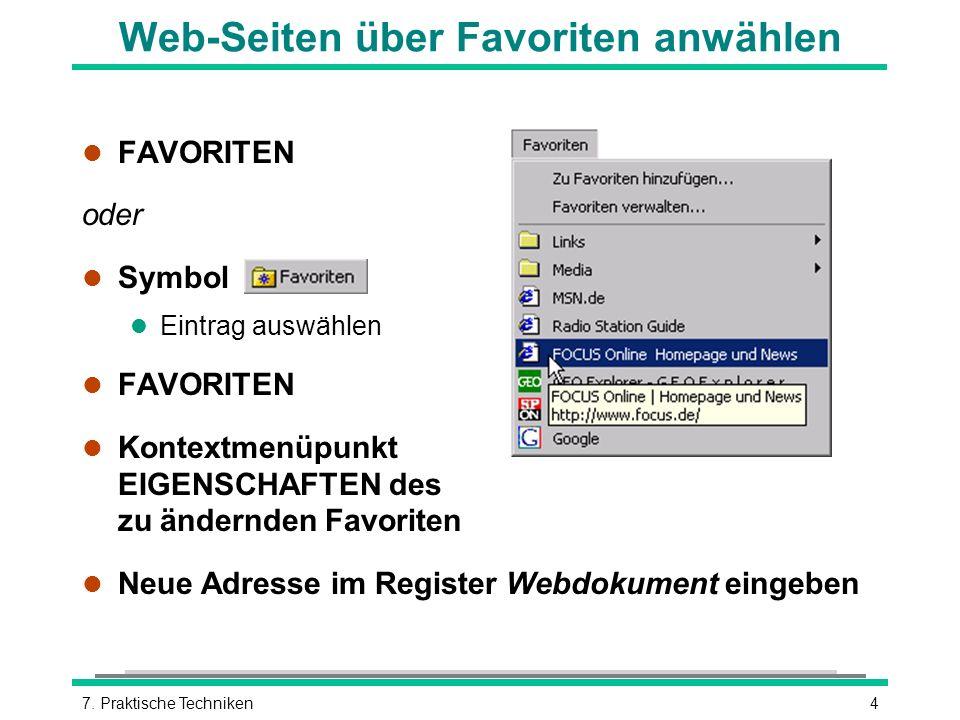 Web-Seiten über Favoriten anwählen