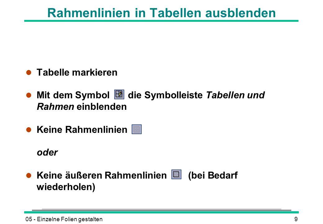 Rahmenlinien in Tabellen ausblenden