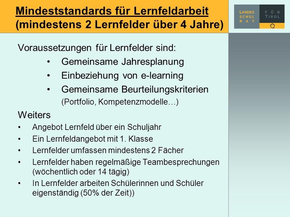 Mindeststandards für Lernfeldarbeit (mindestens 2 Lernfelder über 4 Jahre)