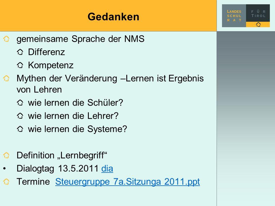 Gedanken gemeinsame Sprache der NMS Differenz Kompetenz