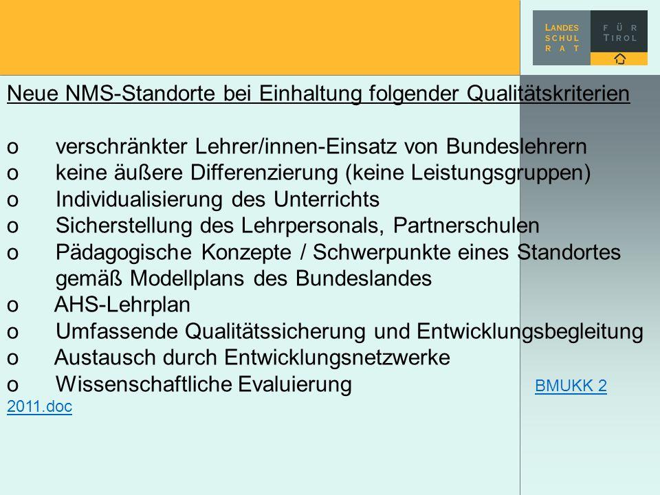 Neue NMS-Standorte bei Einhaltung folgender Qualitätskriterien