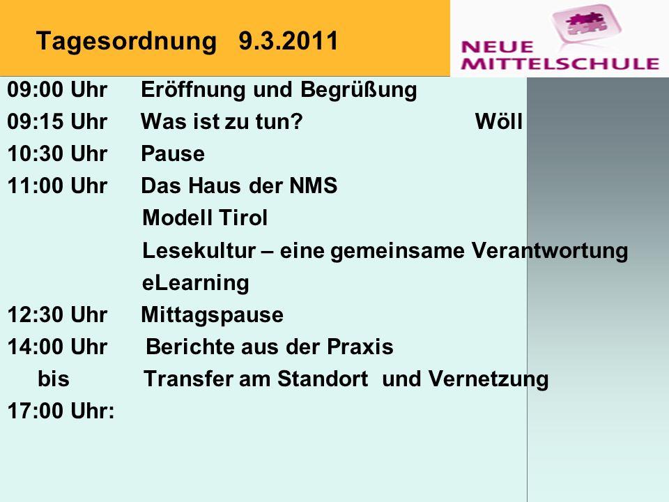 Tagesordnung 9.3.2011 09:00 Uhr Eröffnung und Begrüßung