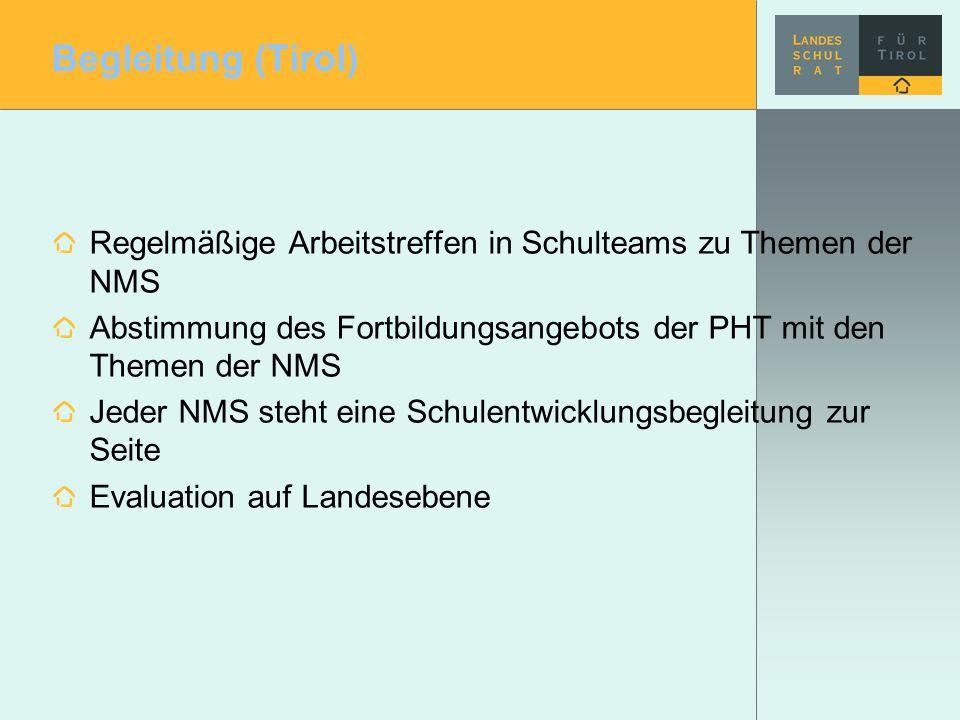 Begleitung (Tirol) Regelmäßige Arbeitstreffen in Schulteams zu Themen der NMS. Abstimmung des Fortbildungsangebots der PHT mit den Themen der NMS.