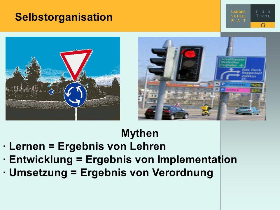 Selbstorganisation Mythen. · Lernen = Ergebnis von Lehren. · Entwicklung = Ergebnis von Implementation.