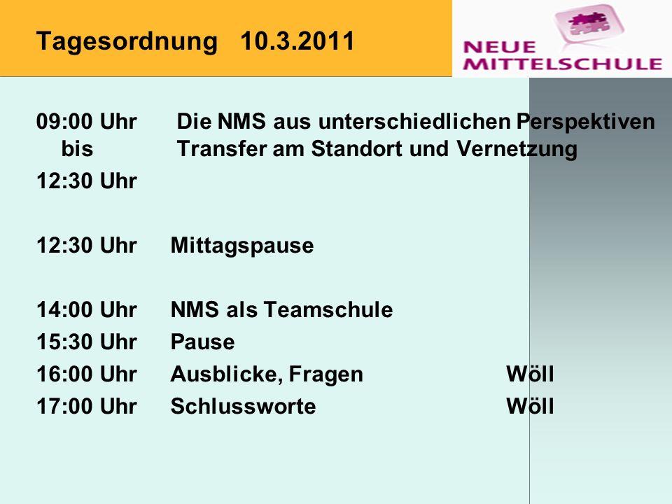 Tagesordnung 10.3.2011 09:00 Uhr Die NMS aus unterschiedlichen Perspektiven bis Transfer am Standort und Vernetzung.