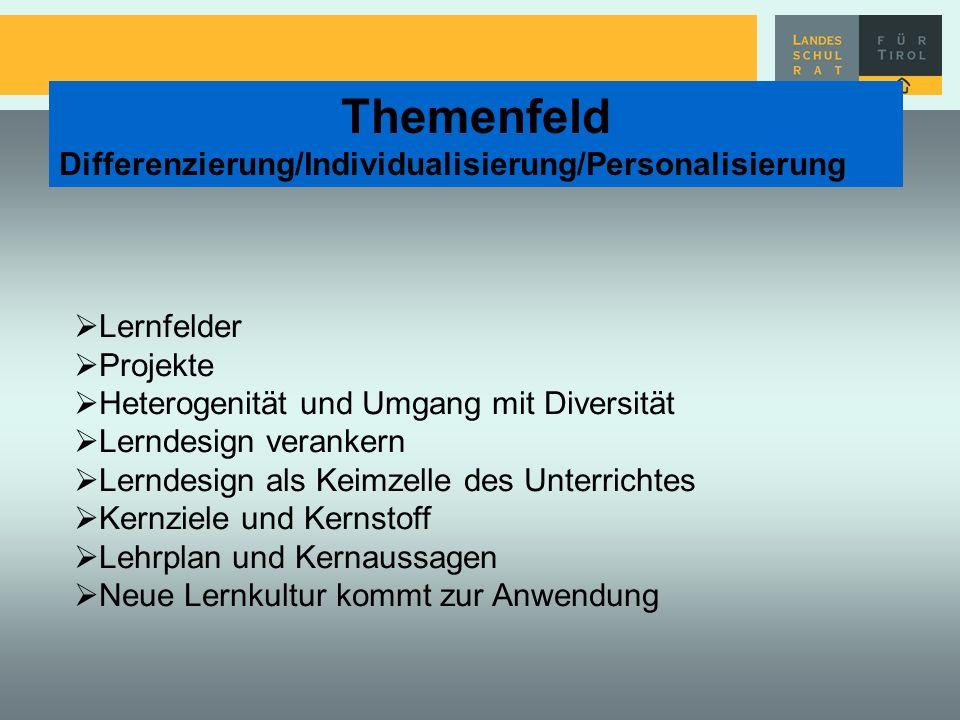Themenfeld Differenzierung/Individualisierung/Personalisierung