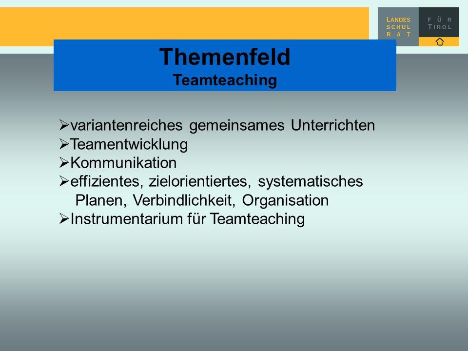 Themenfeld Teamteaching variantenreiches gemeinsames Unterrichten