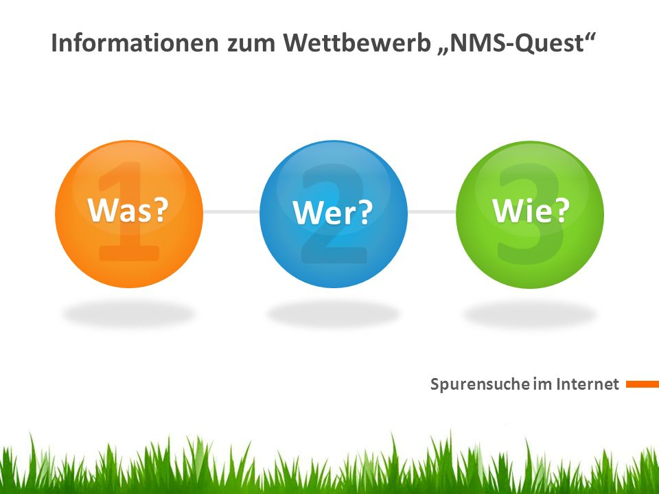 """1 2 3 Was Wer Wie Informationen zum Wettbewerb """"NMS-Quest"""