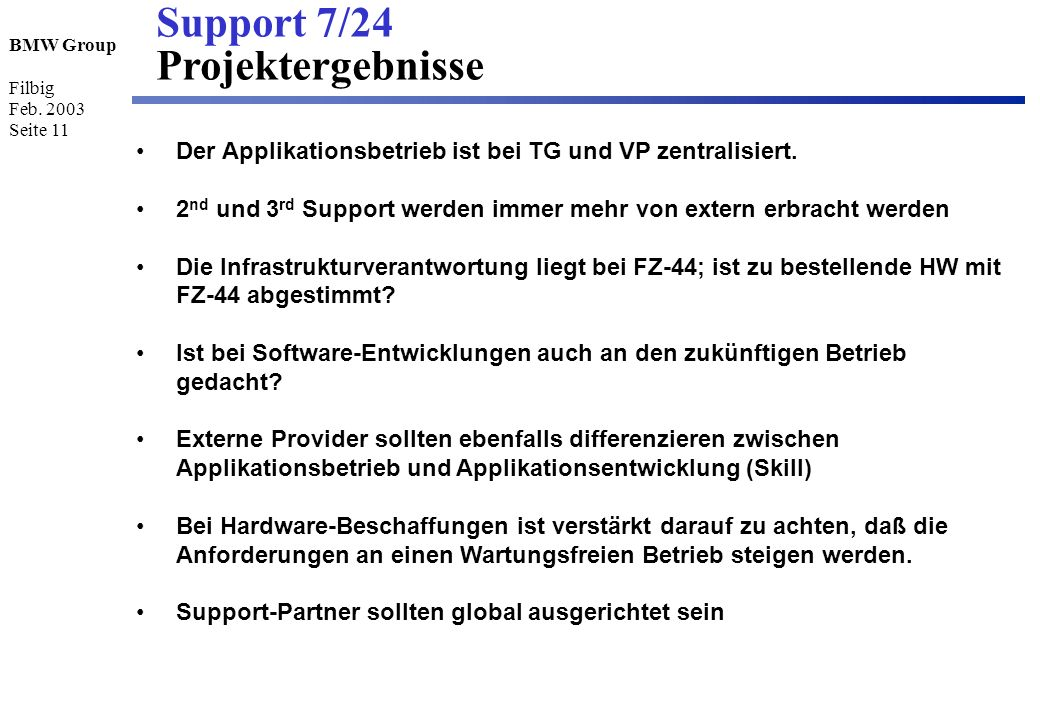 Support 7/24 Projektergebnisse