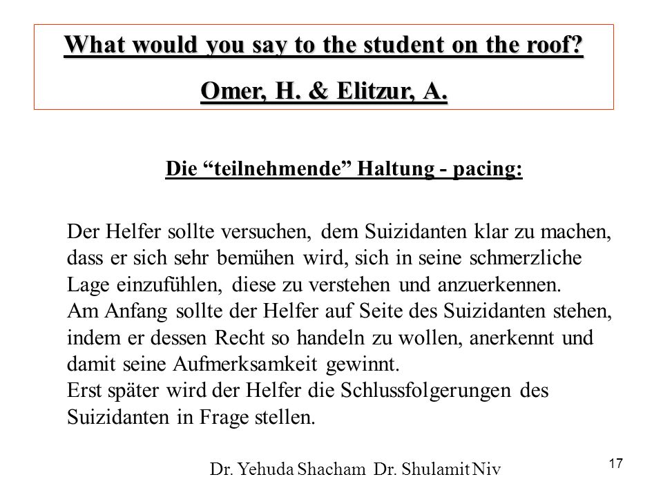 What would you say to the student on the roof Omer, H. & Elitzur, A.