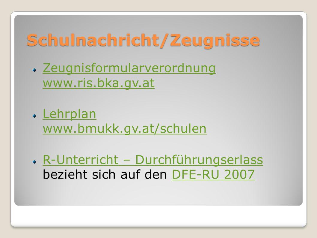 Schulnachricht/Zeugnisse