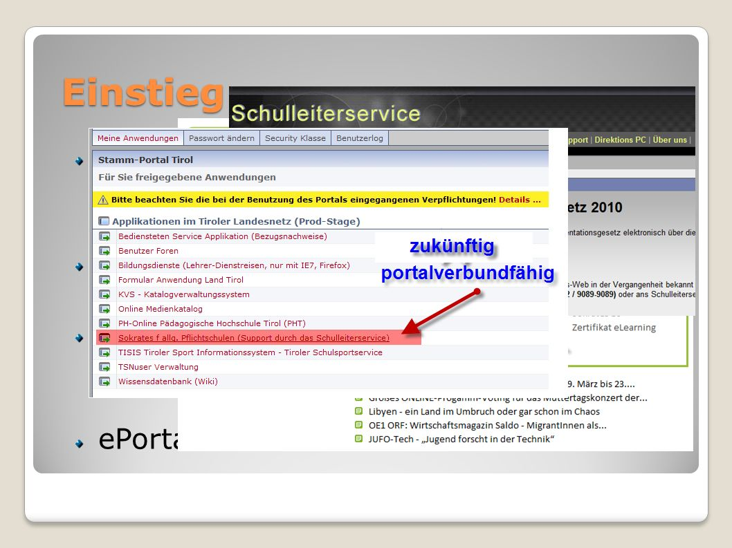 Einstieg URL: www.sokrates-web.at/tirol TiBS: