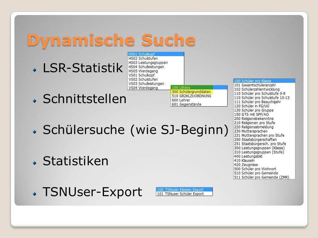 Dynamische Suche LSR-Statistik Schnittstellen