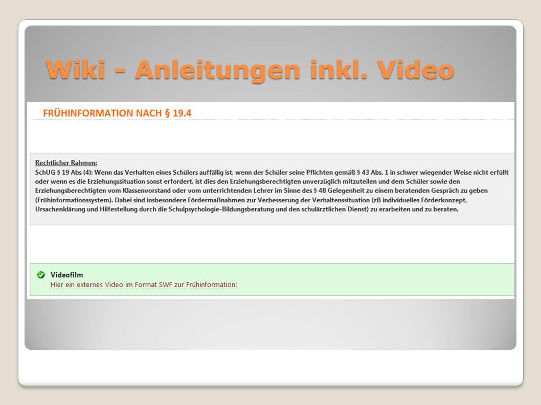 Wiki - Anleitungen inkl. Video