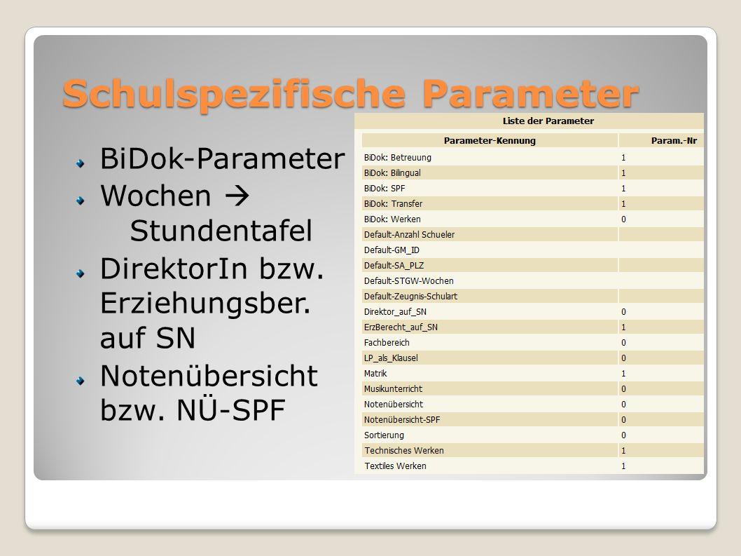 Schulspezifische Parameter