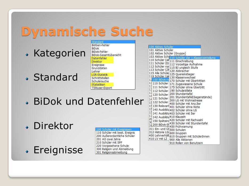 Dynamische Suche Kategorien Standard BiDok und Datenfehler Direktor