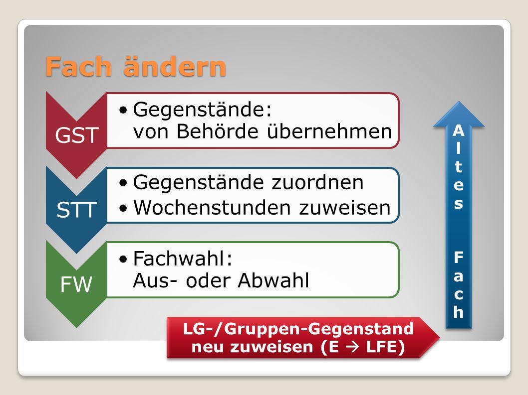 LG-/Gruppen-Gegenstand neu zuweisen (E  LFE)