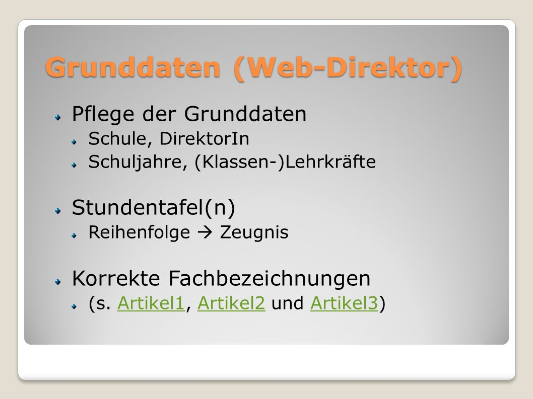 Grunddaten (Web-Direktor)