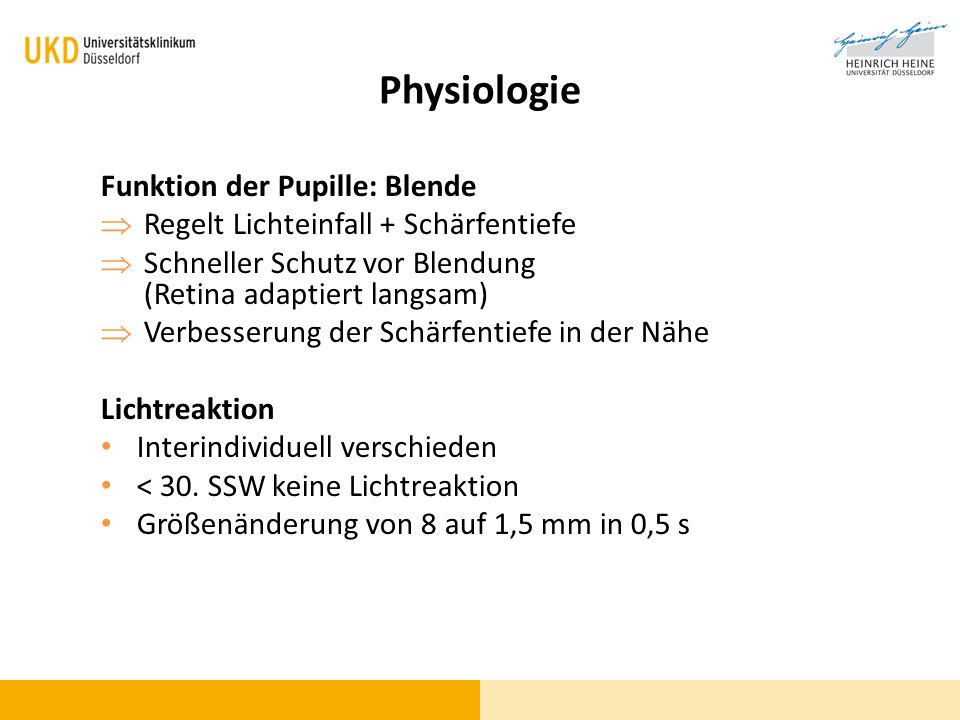 Physiologie Funktion der Pupille: Blende