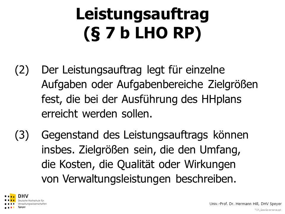Leistungsauftrag (§ 7 b LHO RP)