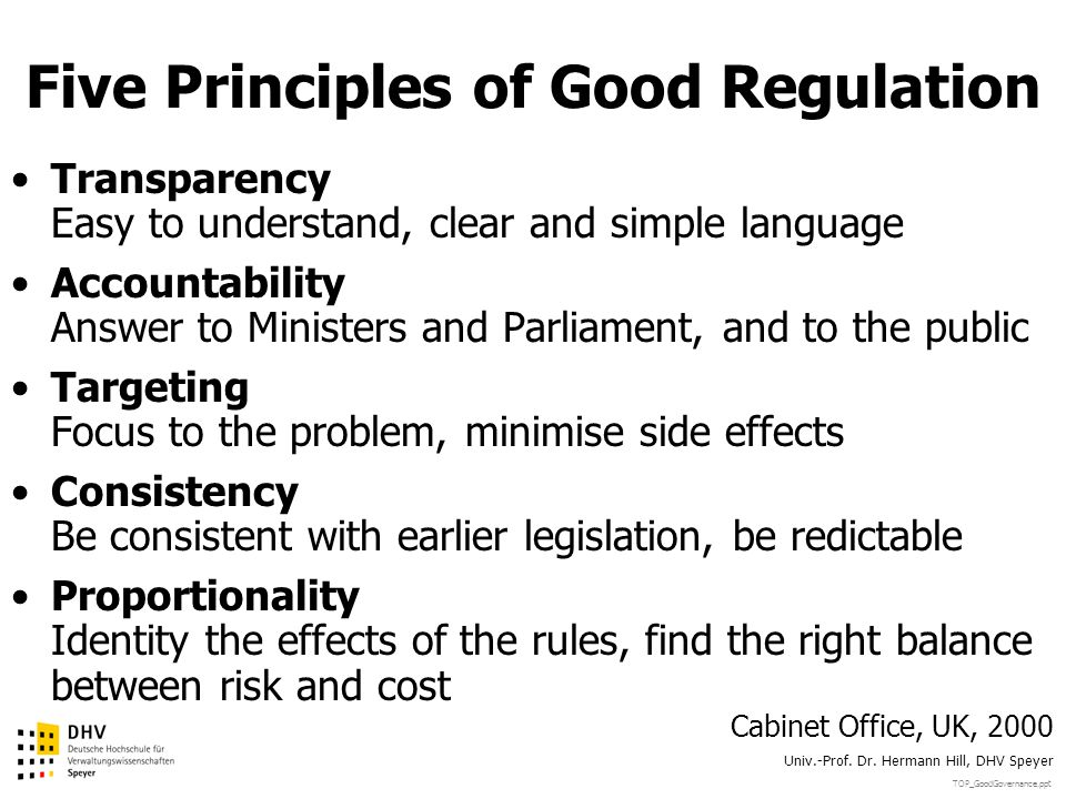Five Principles of Good Regulation