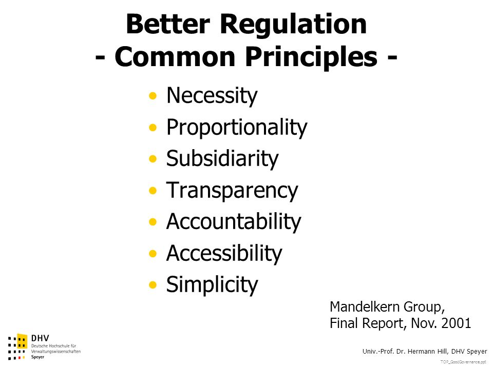 Better Regulation - Common Principles -