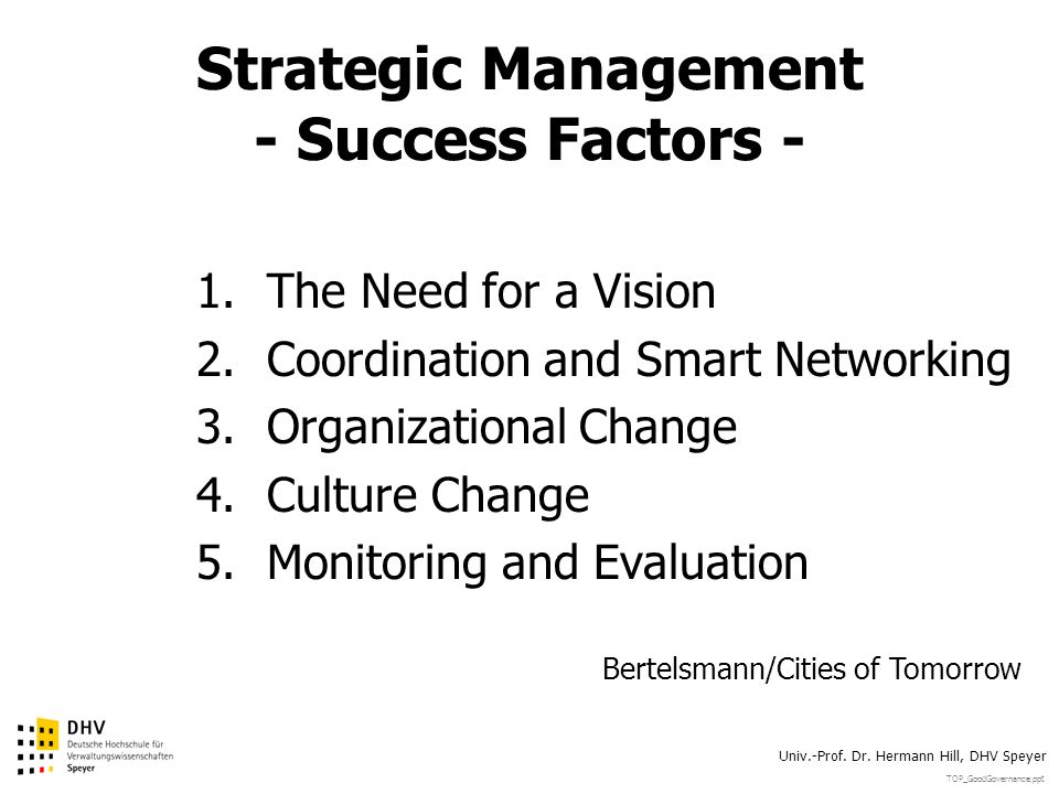 Strategic Management - Success Factors -