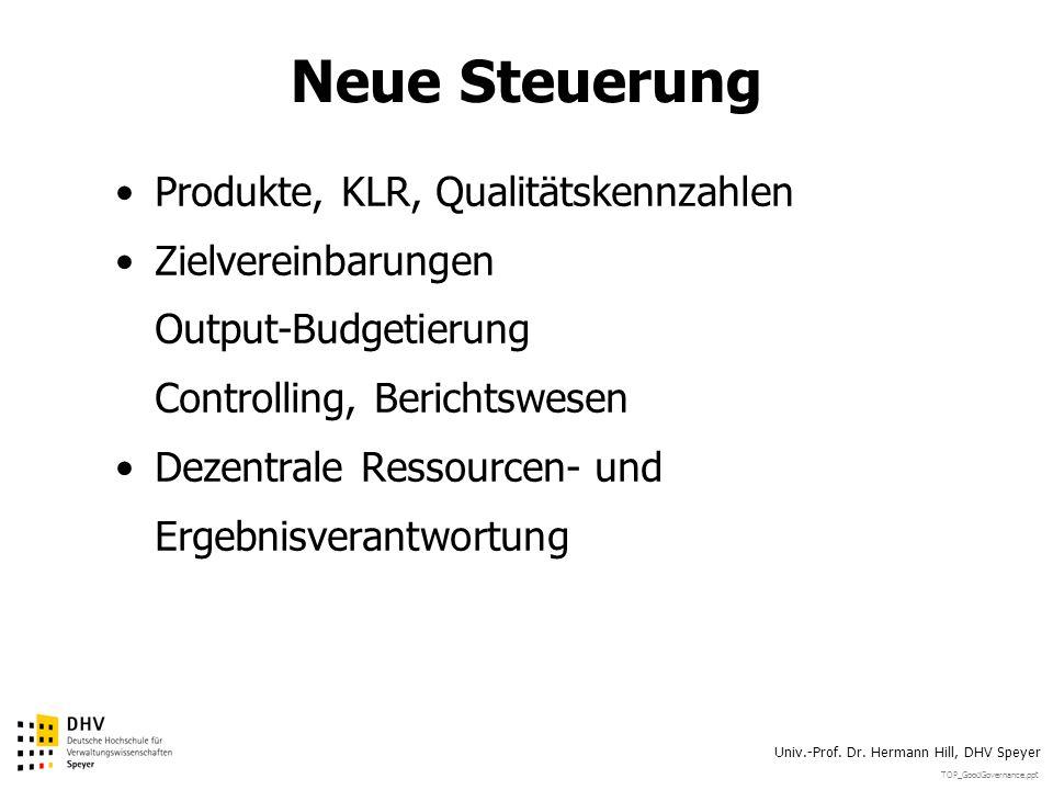 Neue Steuerung Produkte, KLR, Qualitätskennzahlen