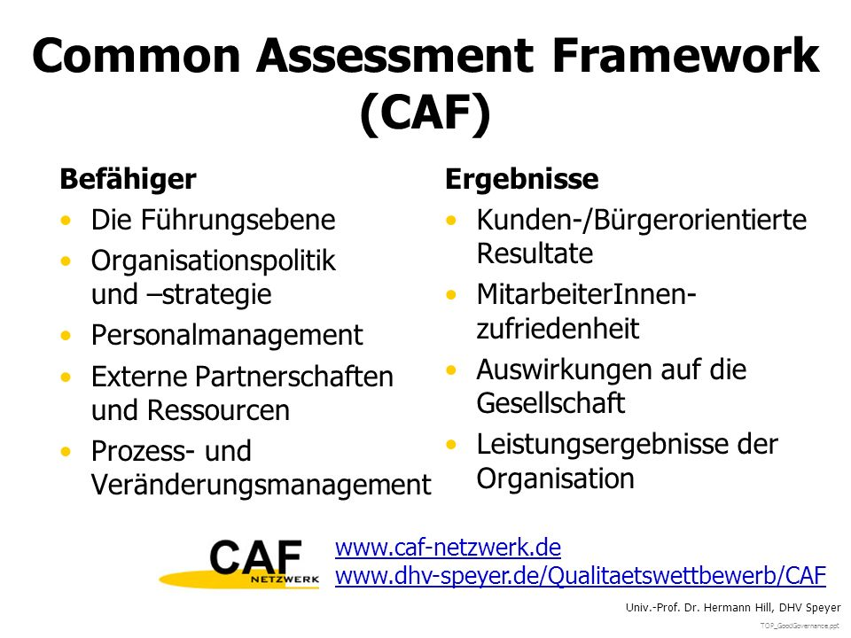 Common Assessment Framework (CAF)