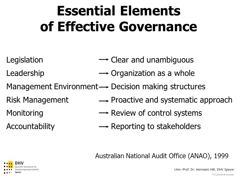 Essential Elements of Effective Governance