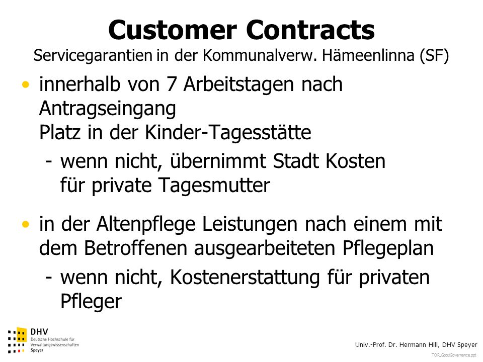 Customer Contracts Servicegarantien in der Kommunalverw