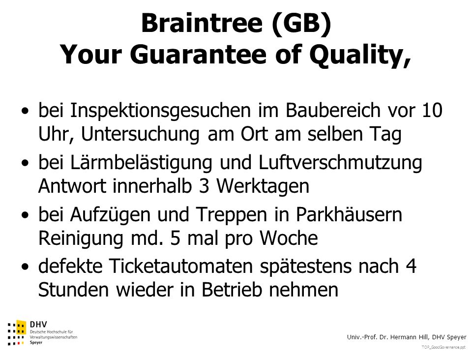 Braintree (GB) Your Guarantee of Quality,