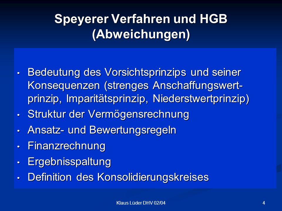 Speyerer Verfahren und HGB (Abweichungen)