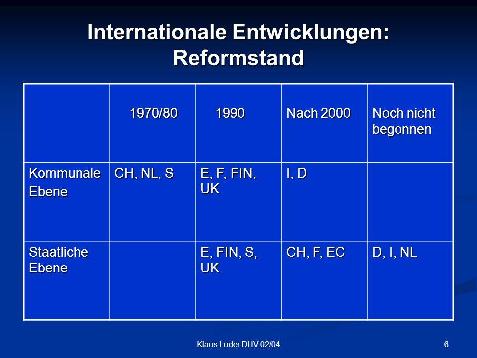 Internationale Entwicklungen: Reformstand