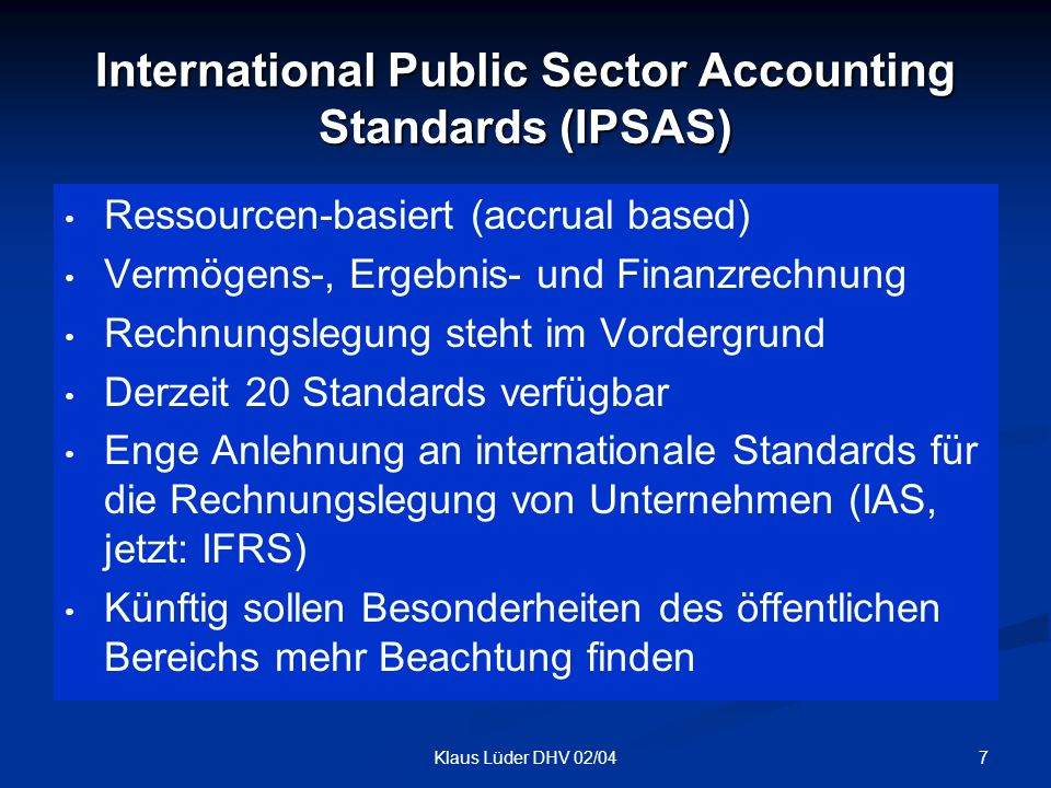 International Public Sector Accounting Standards (IPSAS)
