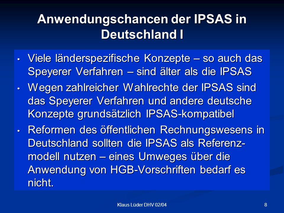 Anwendungschancen der IPSAS in Deutschland I