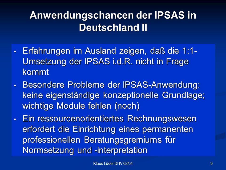 Anwendungschancen der IPSAS in Deutschland II
