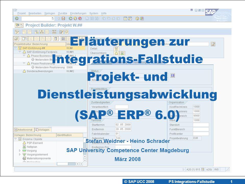 Erläuterungen zur Integrations-Fallstudie Projekt- und Dienstleistungsabwicklung (SAP® ERP® 6.0)