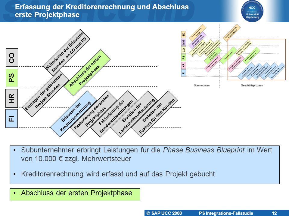 Erfassung der Kreditorenrechnung und Abschluss erste Projektphase